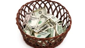 Collection basket with money