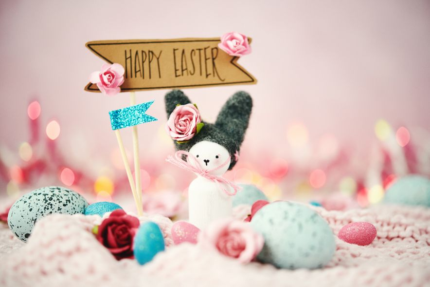 Handmade bunny with flowers and Easter message