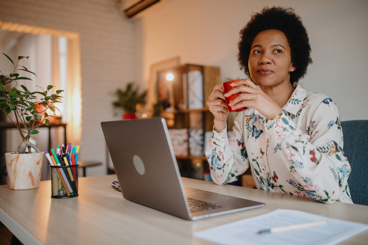 Woman working from home office